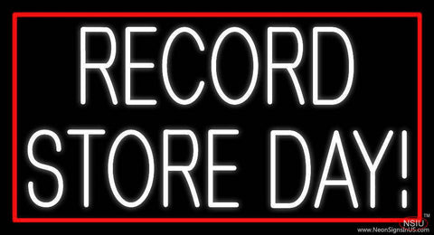 White Record Store Day Block Red Border  Real Neon Glass Tube Neon Sign