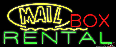 Yellow Mail Block Box Rental Real Neon Glass Tube Neon Sign
