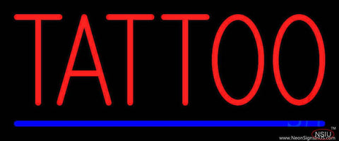 Red Tattoo Blue Line Real Neon Glass Tube Neon Sign