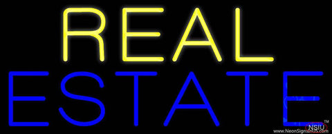 Yellow Blue Real Estate Real Neon Glass Tube Neon Sign
