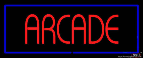 Red Arcade Blue Border Real Neon Glass Tube Neon Sign