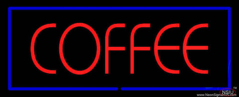 Red Coffee with Blue Border Real Neon Glass Tube Neon Sign