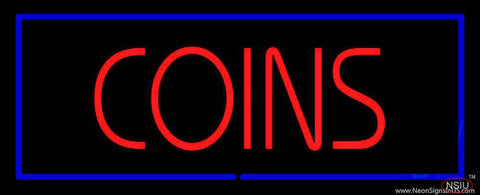 Red Coins Blue Border Real Neon Glass Tube Neon Sign