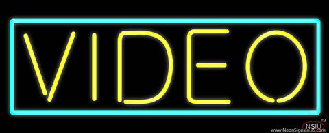 Yellow Video Turquoise Border Real Neon Glass Tube Neon Sign