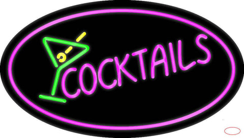 Pink Cocktail with Cocktail Glass Real Neon Glass Tube Neon Sign