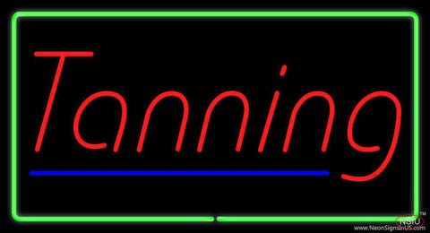 Tanning with Green Border Real Neon Glass Tube Neon Sign