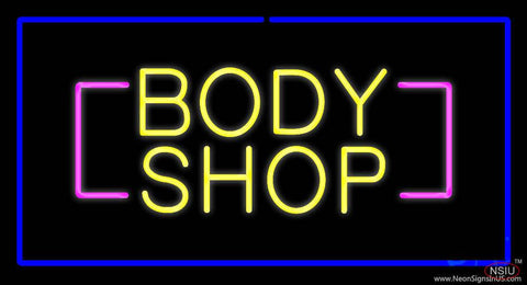 Yellow Body Shop Blue Rectangle Real Neon Glass Tube Neon Sign