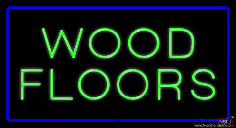 Wood Floors Rectangle Blue Real Neon Glass Tube Neon Sign