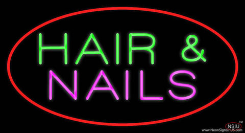 Red Oval Hair and Nails Real Neon Glass Tube Neon Sign