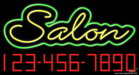 Yellow Salon with Phone Number Real Neon Glass Tube Neon Sign