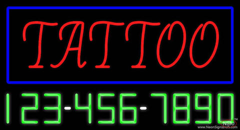 Red Tattoo Blue Border with Phone Number Real Neon Glass Tube Neon Sign