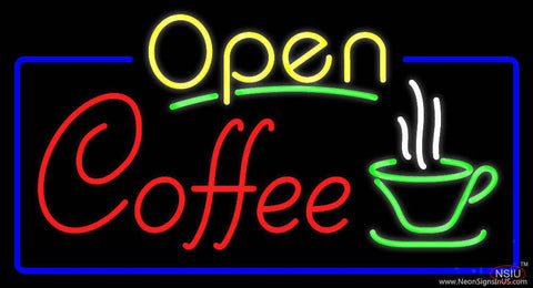 Yellow Open Coffee Real Neon Glass Tube Neon Sign