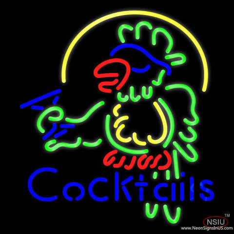 Cocktails Parrot - Beer Real Neon Glass Tube Neon Sign