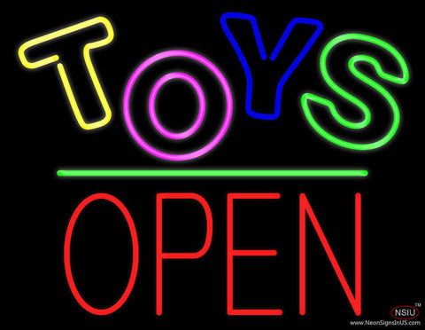 Toys Block Open Green Line Real Neon Glass Tube Neon Sign