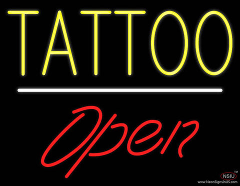 Tattoo Open White Line Real Neon Glass Tube Neon Sign