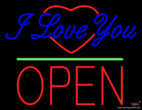 I Love You Logo Block Open Green Line Real Neon Glass Tube Neon Sign