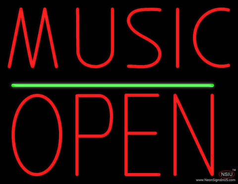 Music Open Block Green Line Real Neon Glass Tube Neon Sign