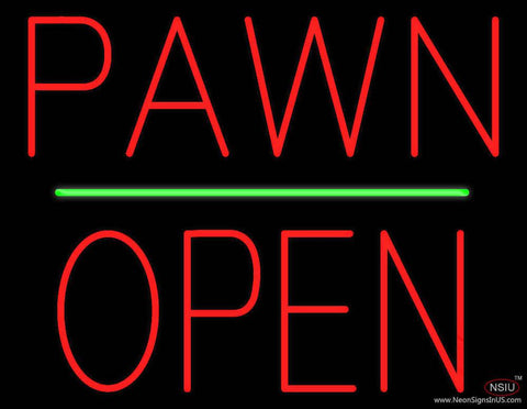 Pawn Block Open Green Line Real Neon Glass Tube Neon Sign