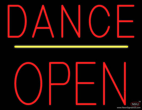 Dance Block Open Yellow Line Real Neon Glass Tube Neon Sign