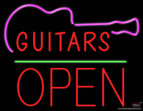 Guitars Block Open Green Line Real Neon Glass Tube Neon Sign