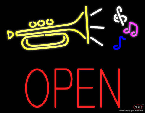 Trumpet Logo Open Block Real Neon Glass Tube Neon Sign