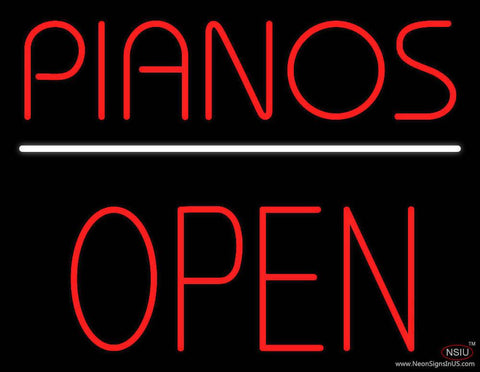 Pianos Open Block Real Neon Glass Tube Neon Sign