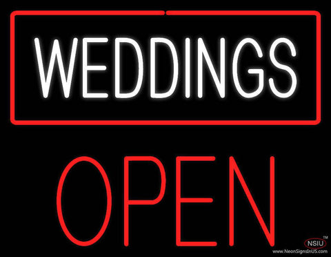Weddings Block Open Red Real Neon Glass Tube Neon Sign