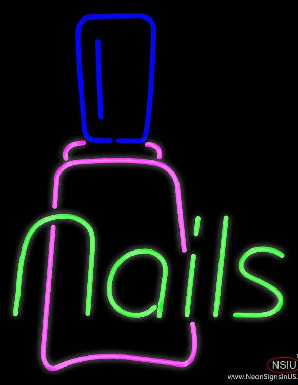 Nails with Nail Logo Real Neon Glass Tube Neon Sign – Custom-Neon ...