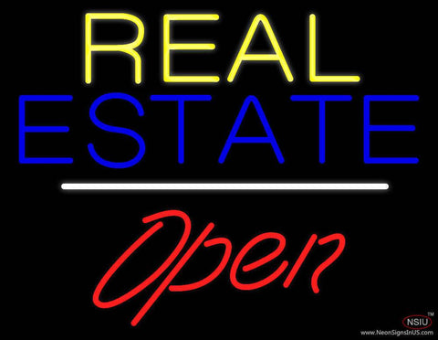 Yellow Real Estate White Line Open Real Neon Glass Tube Neon Sign