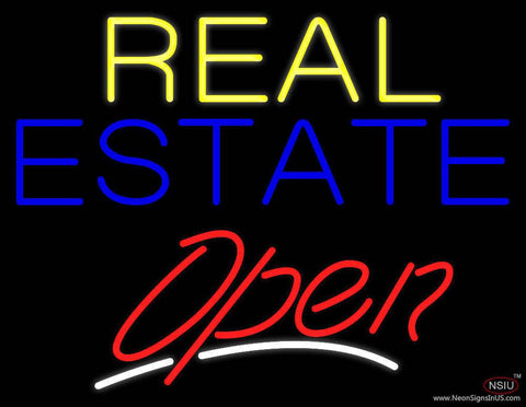 Yellow Real Estate Red Open Real Neon Glass Tube Neon Sign