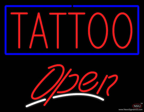 Red Tattoo Blue Border Open White Slant Real Neon Glass Tube Neon Sign