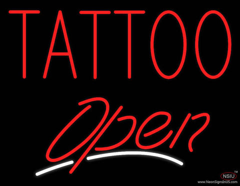Red Tattoo Open White Line Real Neon Glass Tube Neon Sign