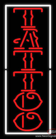 Vertical Red Tattoo White Border Real Neon Glass Tube Neon Sign