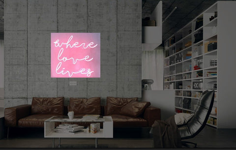 New Where Love Lives Neon Art Sign Handmade Visual Artwork Wall Decor Light