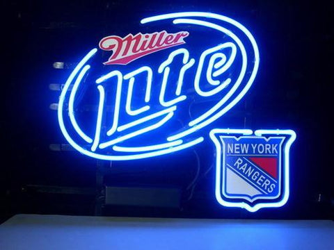 New York Rangers Miller Lite Beer Neon Sign