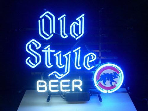 Old Style Beer Chicago Cubs Real Glass Neonsign