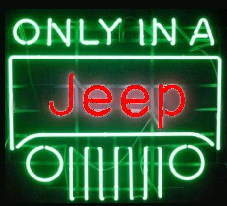 Only In A Jeep Red Beer Bar Open Neon Signs