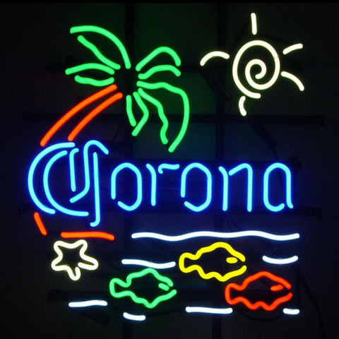 Revolutionary Neon Super Bright Corona Beer Sun Paim Fish Neon