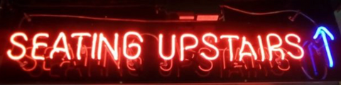 Seating upstairs Handmade Art Neon Signs