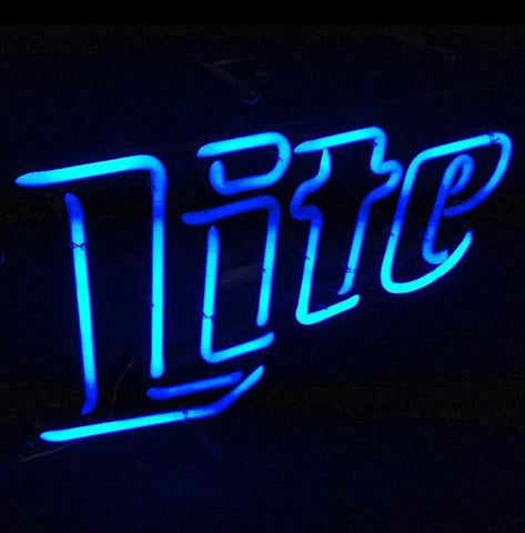 Vintage Miller Lite Blue Neon Beer Sign Cool Retro