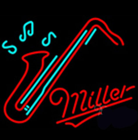 Miller Saxophone Neon Beer Sign Small