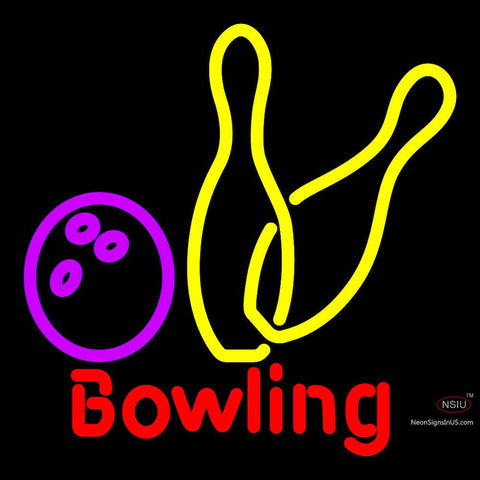 Bowling Neon Yellow Sign x
