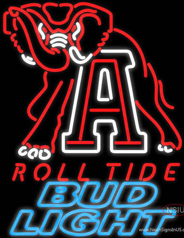 Bud Light Alabama Roll Tide Real Neon Glass Tube Neon Sign