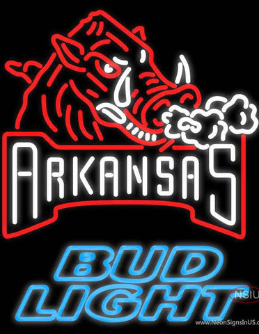Bud Light Arkansas Razorbacks Real Neon Glass Tube Neon Sign