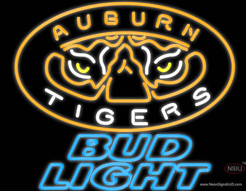 Bud Light Auburn Tigers Real Neon Glass Tube Neon Sign