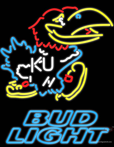 Bud Light Kansas Jayhawks Logo Real Neon Glass Tube Neon Sign