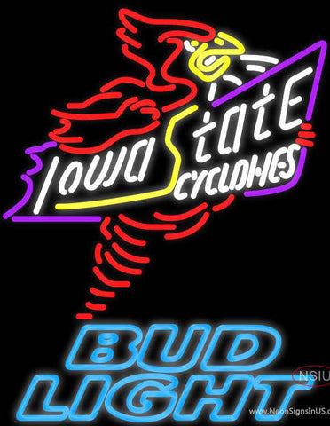Bud Light Killer Iowa State Cyclones Real Neon Glass Tube Neon Sign Sale Price Look