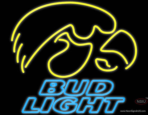 Bud Light University of Iowa Hawkeyes Real Neon Glass Tube Neon Sign
