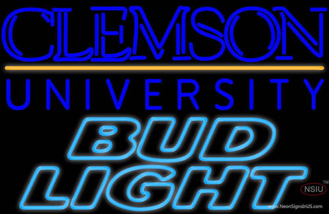 Bud Light Clemson University Real Neon Glass Tube Neon Signs