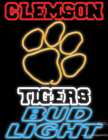 Bud Light Clemson University Tiger Real Neon Glass Tube Neon Sign